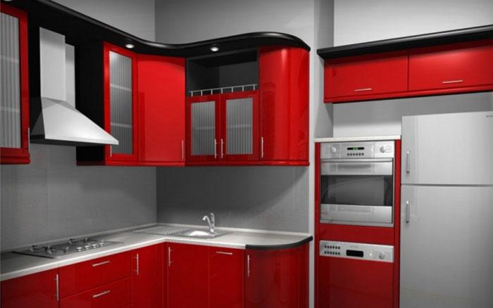 красный цвет в интерьер кухни