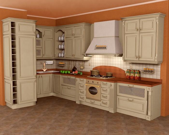 Бежевая кухня с золотым