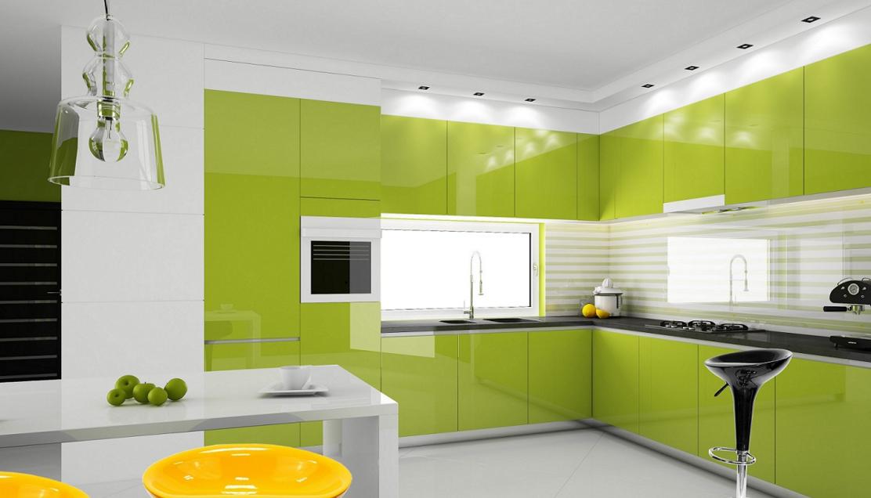 Кухня в белых с салатовых цветах