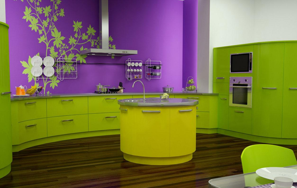 Выкрашенная кухня с элементами декора