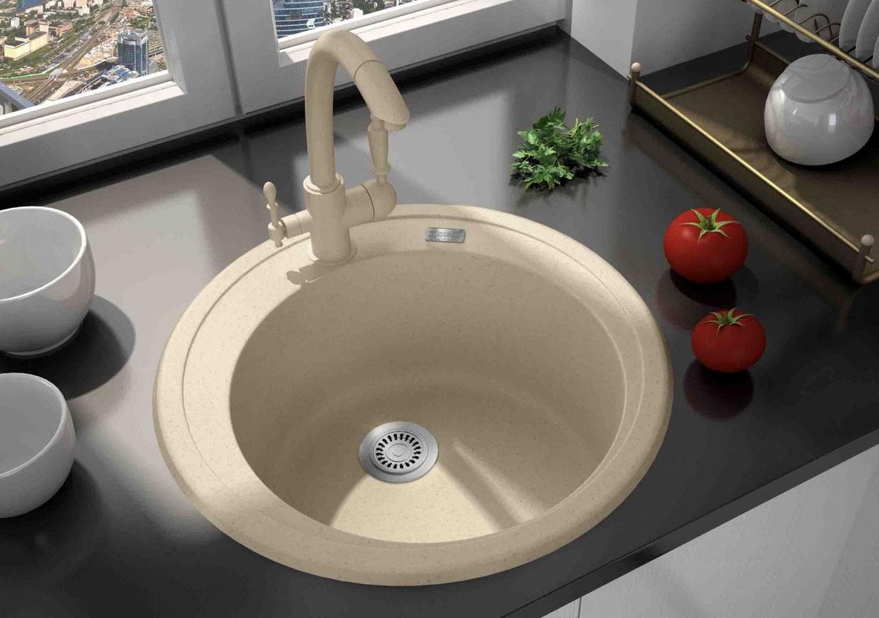 Круглая мойка для кухни дизайн