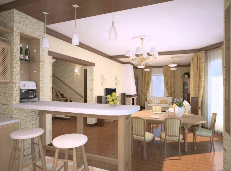 Дизайн небольшой кухни совмещенной с гостиной с барной стойкой