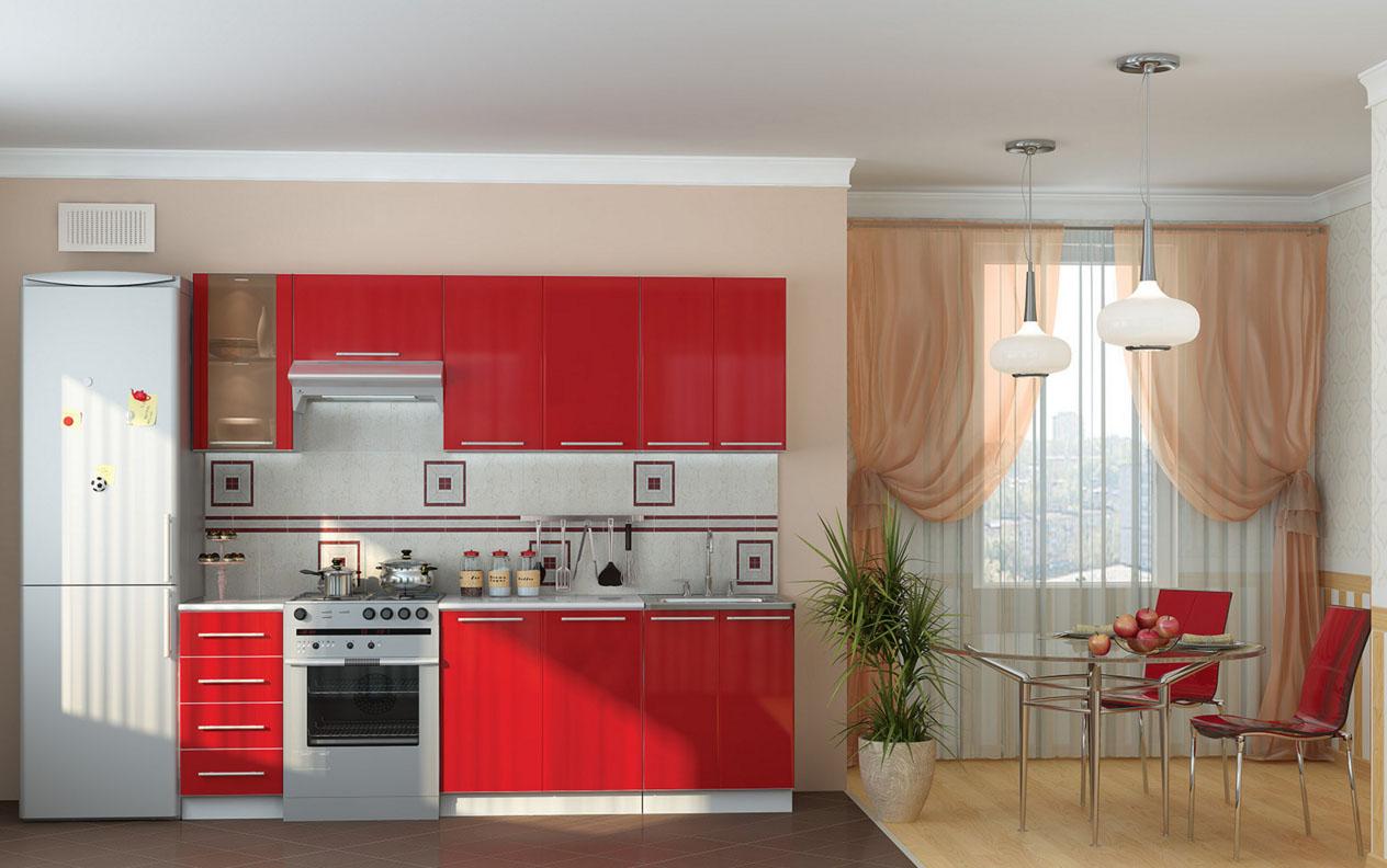 Кухня с красной мебелью