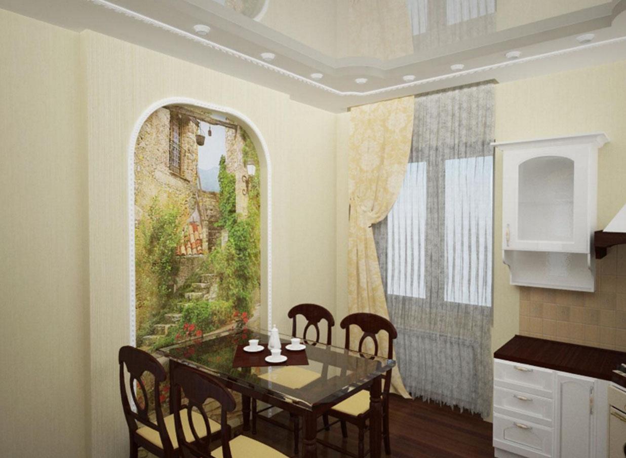 Декор стен обоями на кухне