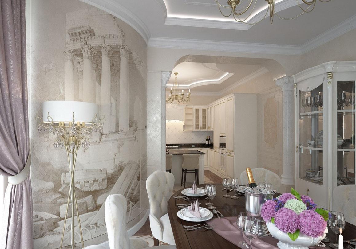 Светлая кухня с аркой