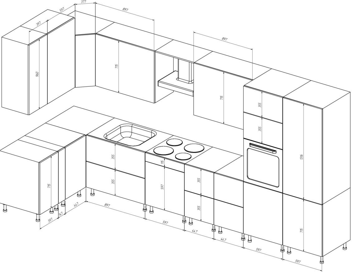 Кухонный гарнитур своими руками чертежи видео