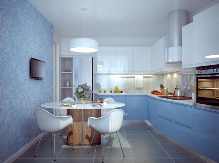 Голубые стены в кухне