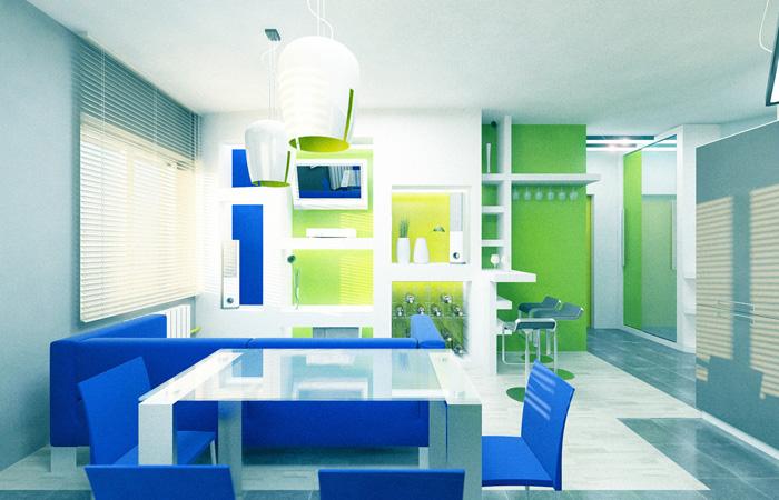 синій і зелений