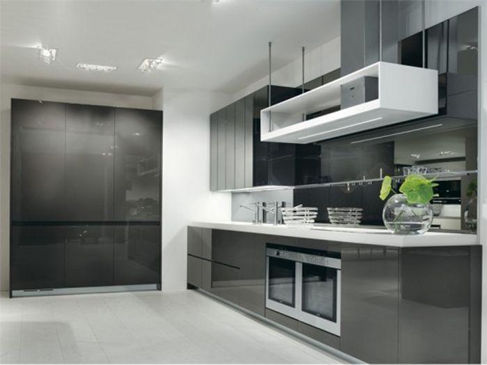 сочетание серого и зеленого на кухне