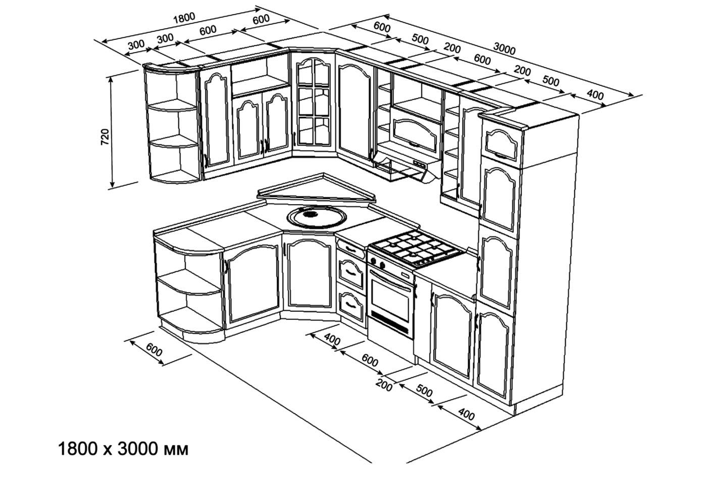 Чертёж кухни 1800х3000