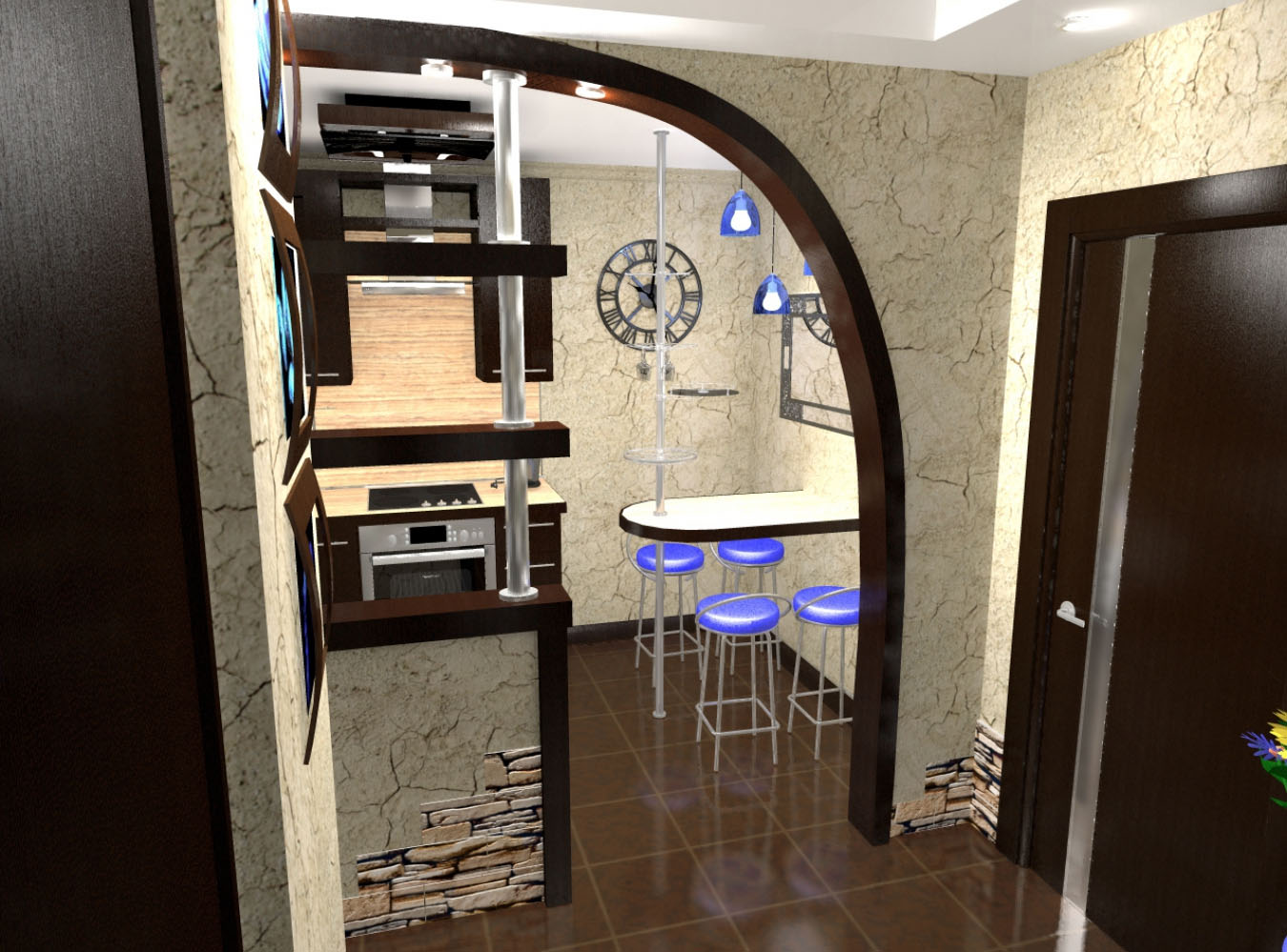 Дизайн кухни совмещённой с коридором