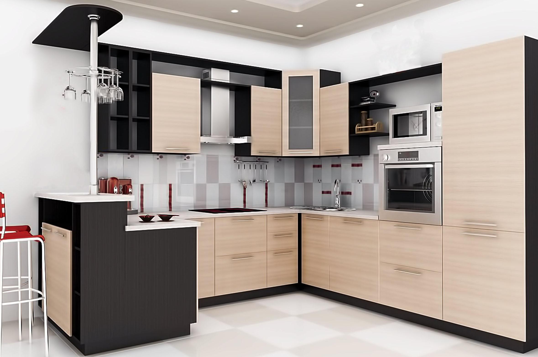 Двухцветная угловая кухня