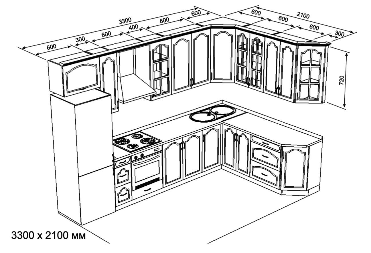 Чертёж кухни 3300х2100