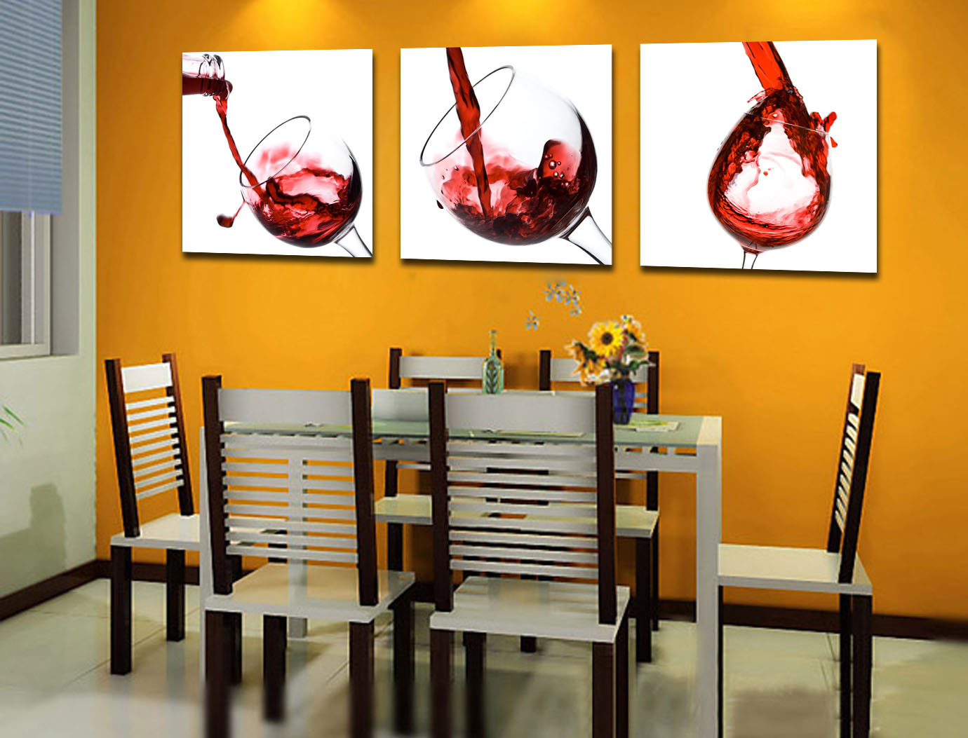 Wine wall art decorating dining room
