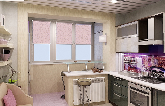 Кухня обеденная с балконом
