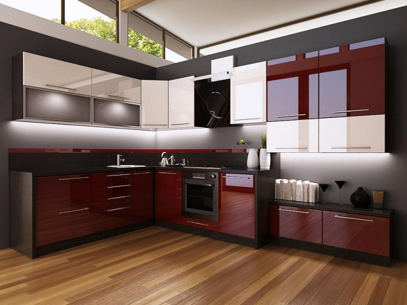 Кухонный гарнитур в цвете бордо