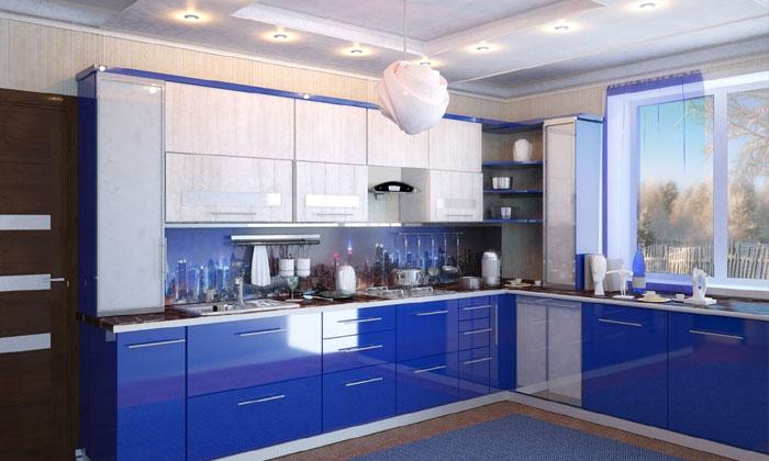 Сине-белая кухня станет отличным решением для тех, кто любит морской стиль