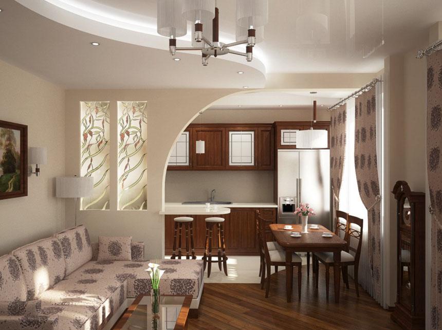 Интерьер кухни совмещенной с залом в квартире