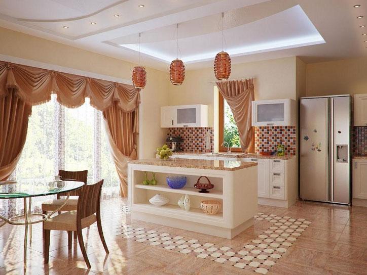 Дизайн совмещённой кухни с залом