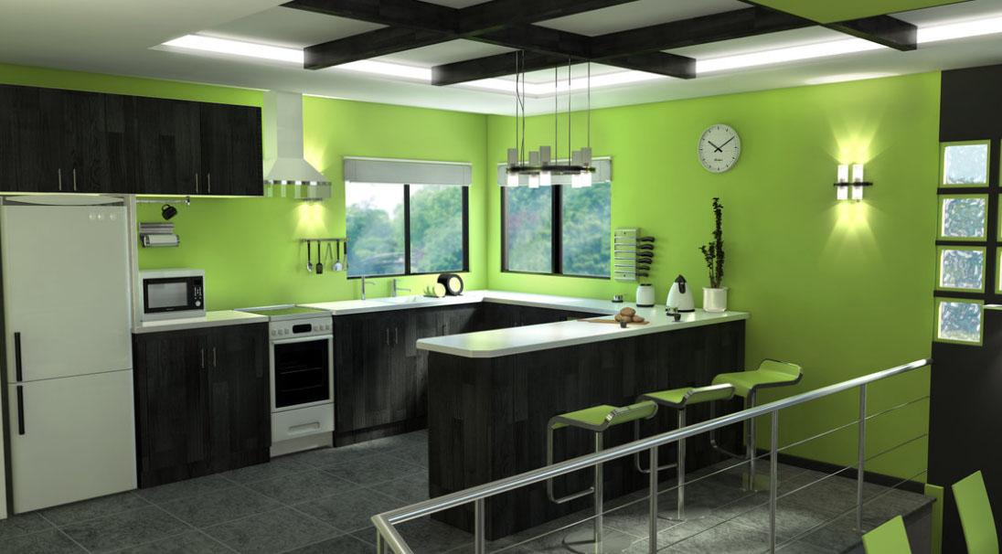 Интерьер кухни в черном и зеленом цвете