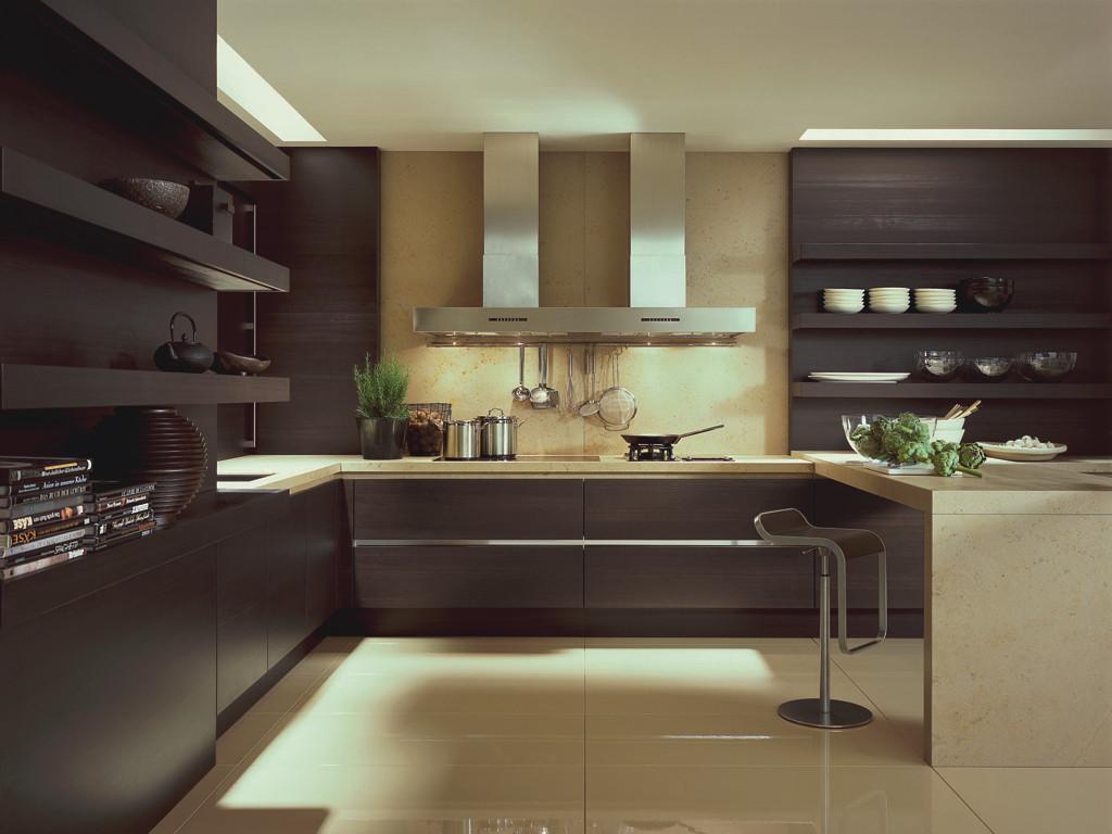 Дизайн кухни коричневой