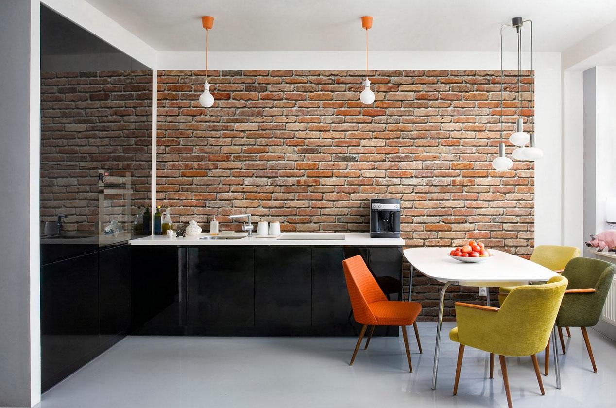 или оформление стен в кухне гостиной кирпичом мужское зимнее