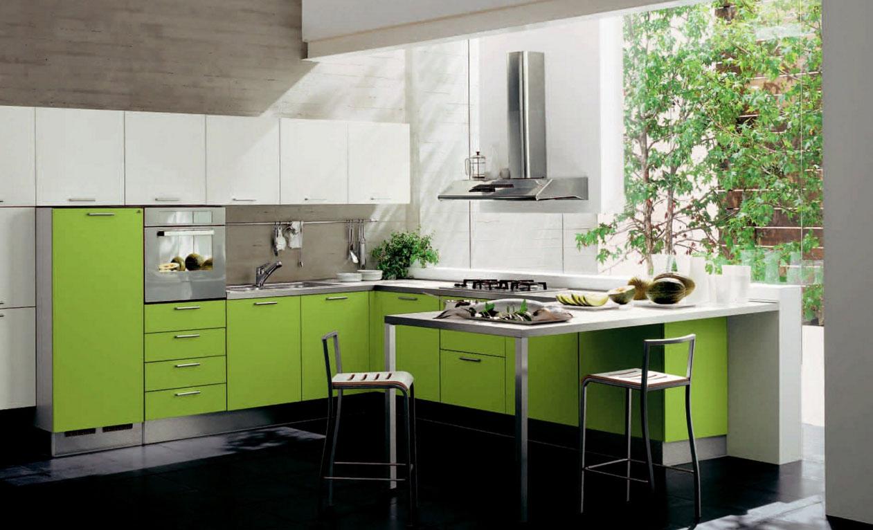 Обои в зеленой кухне