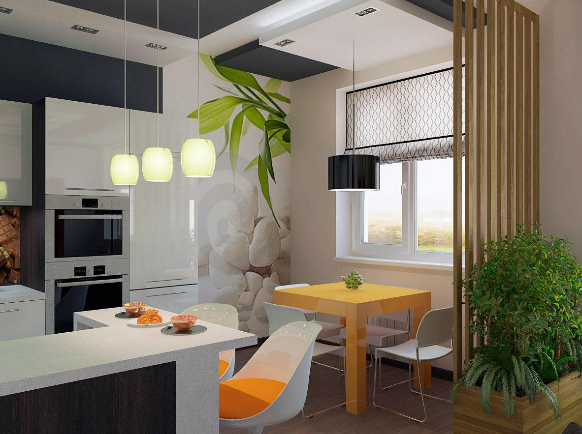Дизайн кухни совмещенной с гостиной в панельном доме