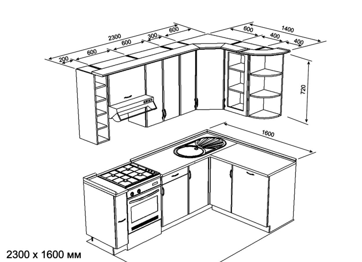 Размеры типовой кухни