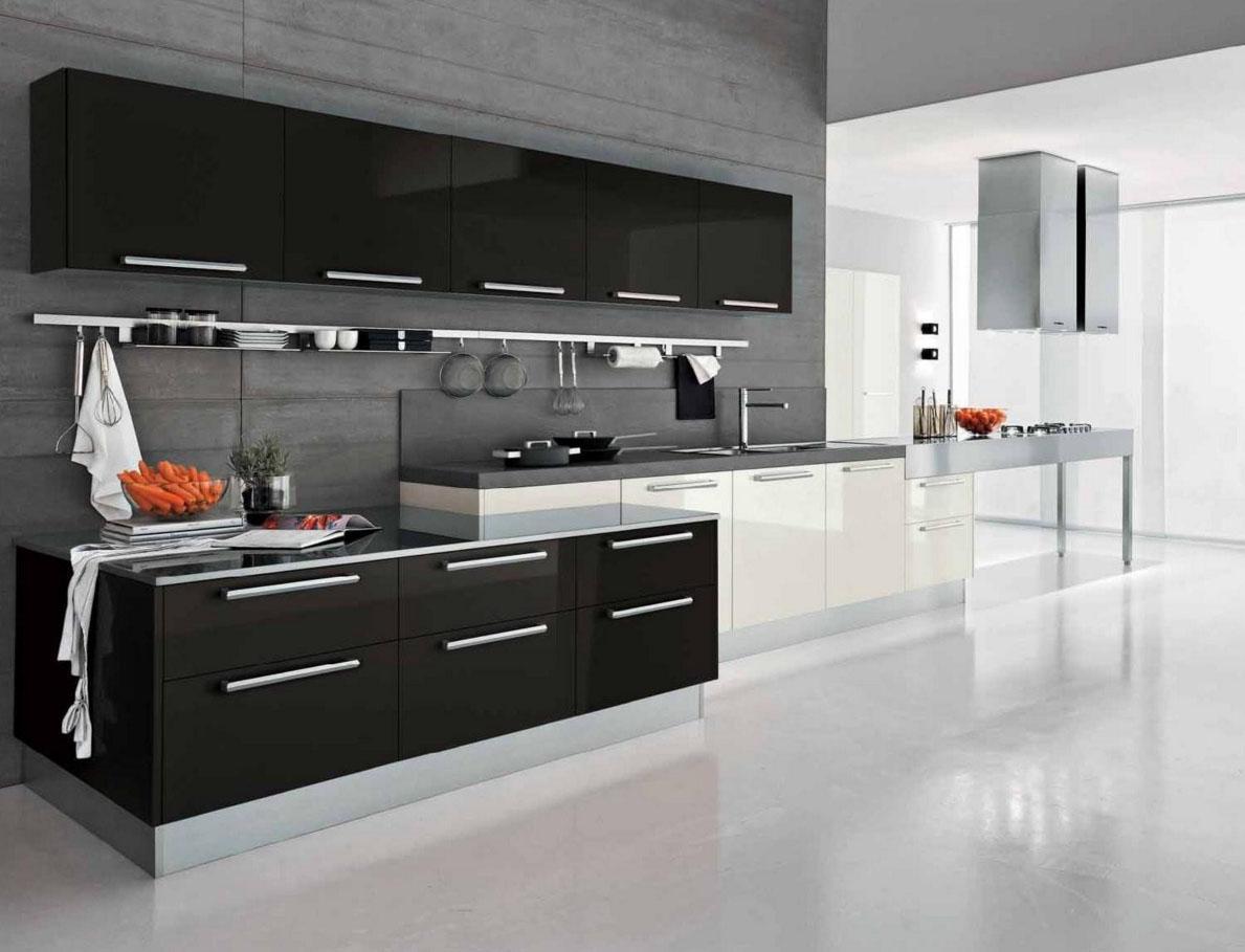 Разноуровневая мебель на кухне