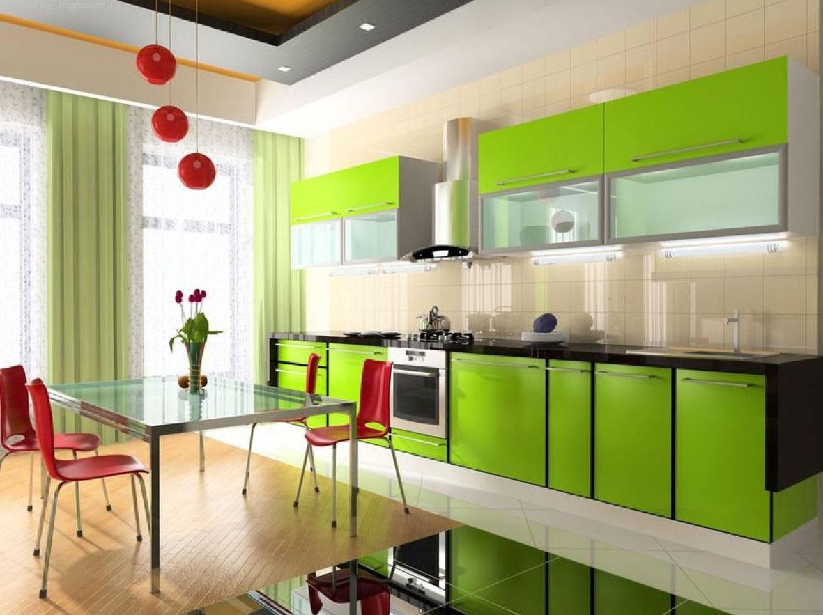 Сочетание красного и зеленого на кухне