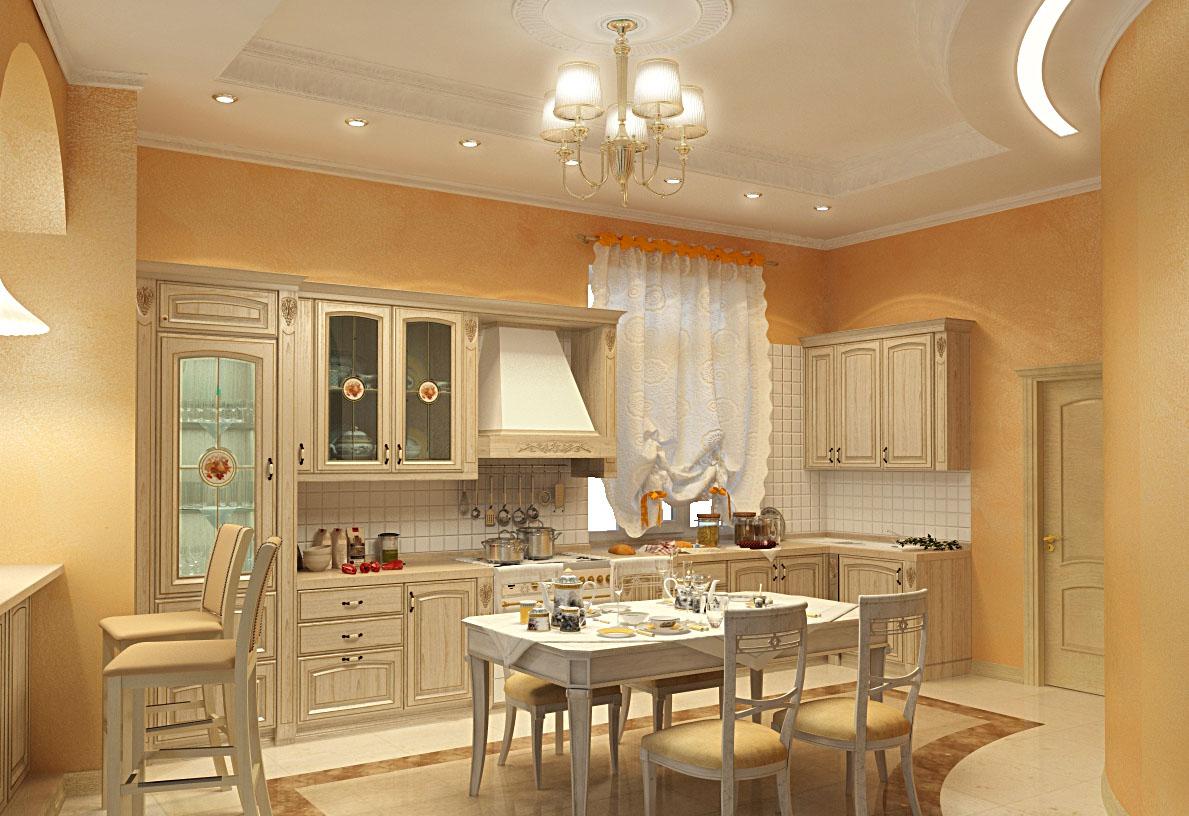 Стены в кухне классика