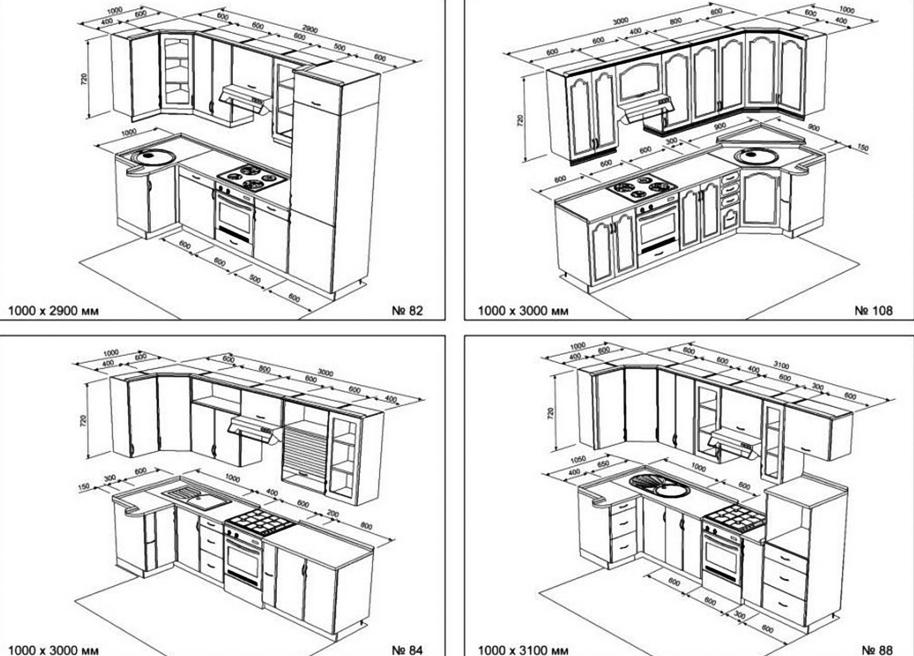 Чертеж кухни из фанеры