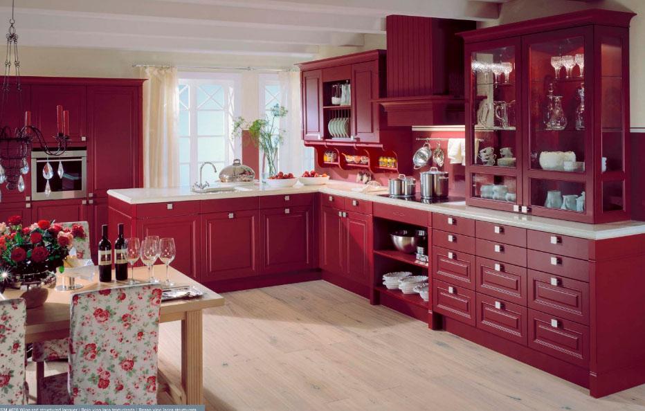 Кухня цвета бордо в интерьере фото