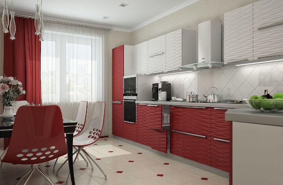 бордовый стиль на кухне