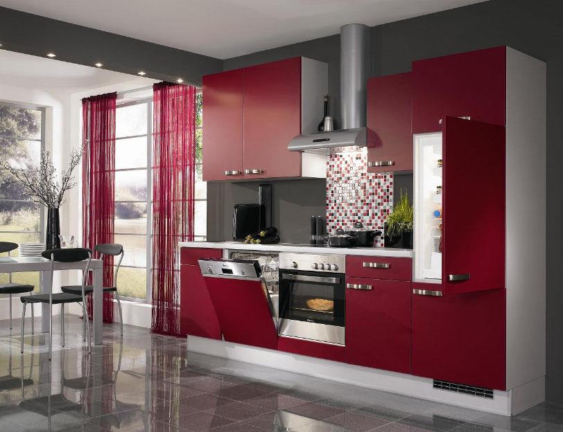 бордовый цвет в кухне