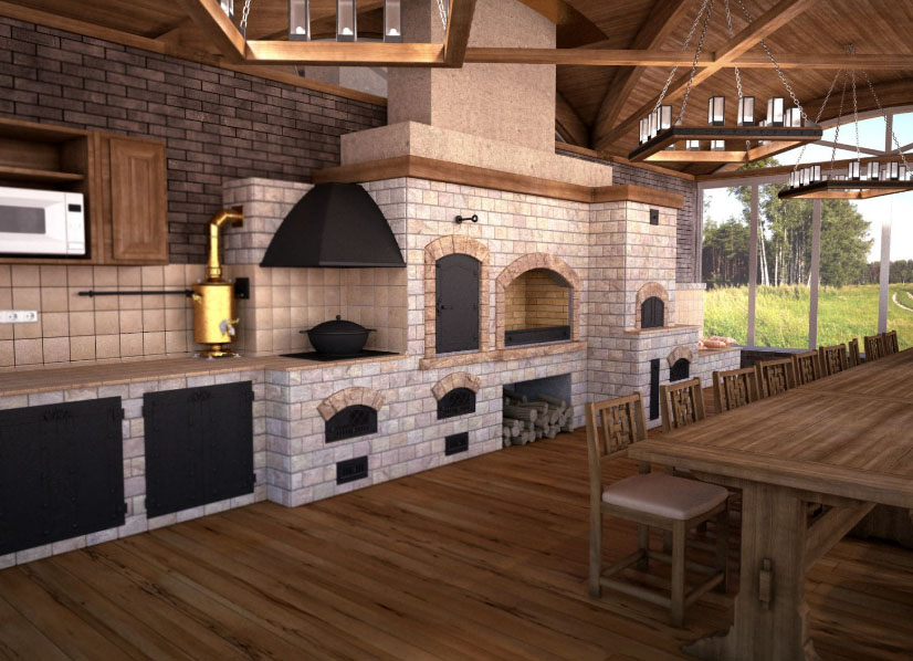 дизайн летней кухни с печью