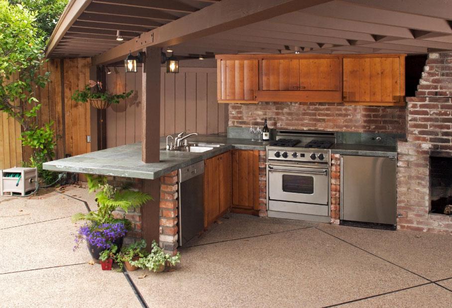 дизайн простой летней кухни