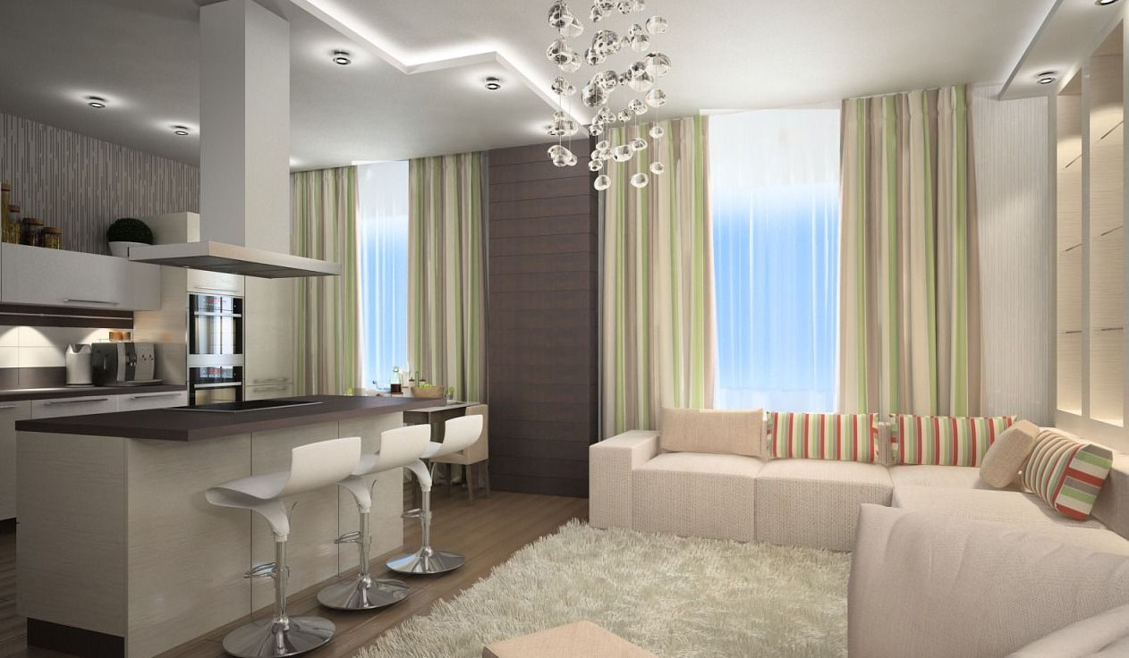 Дизайн кухни гостиной студии