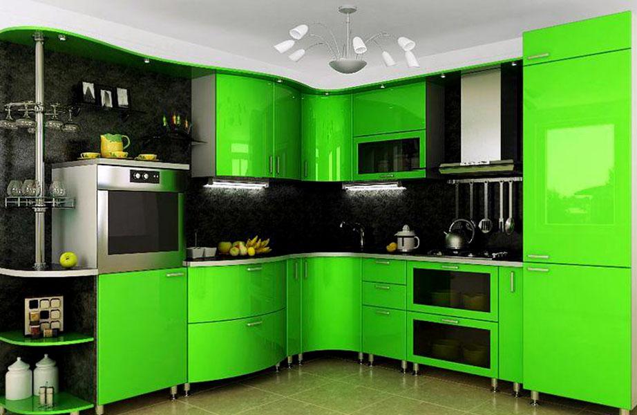 зеленая корпусная мебель для кухни