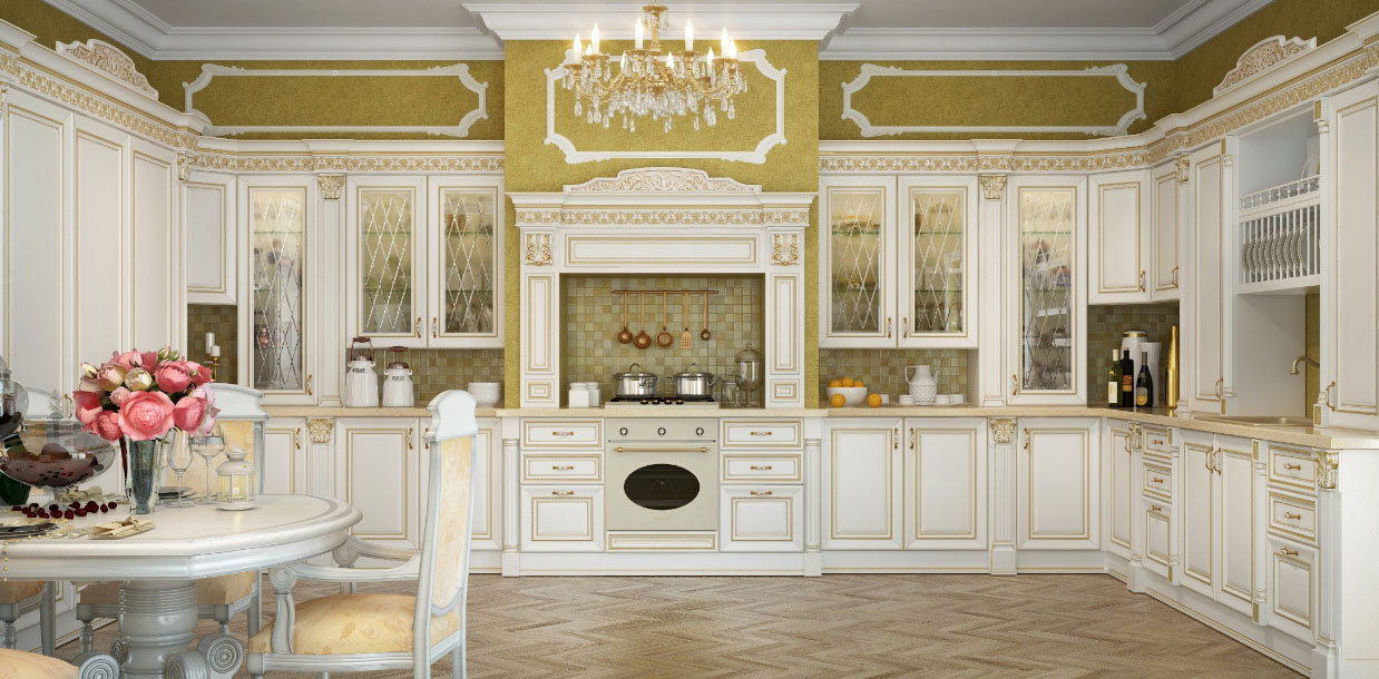 классическая люстра на кухне