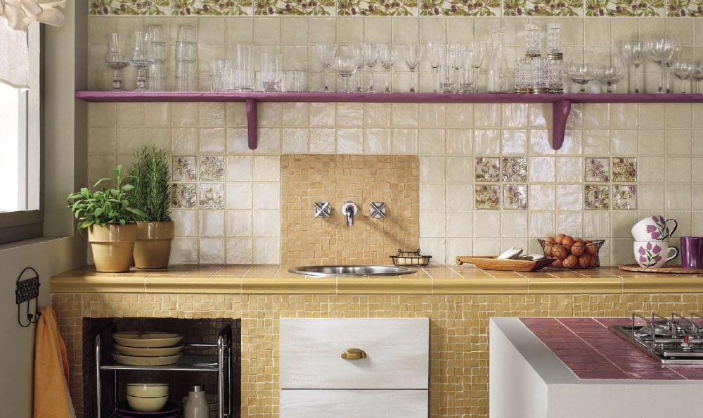 красивый фартук из плитки для кухни
