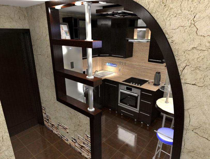 Дизайн перегородки на кухне