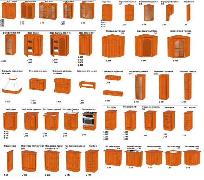 размеры деревянной мебели для кухни