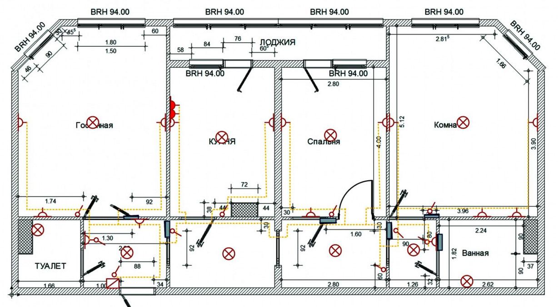 схема проводки ванной в панельном доме