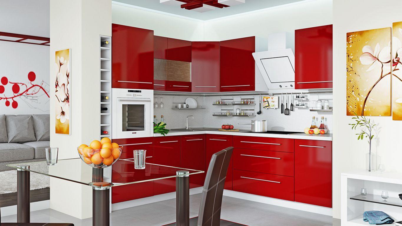 Светлые стены для бордовой кухни