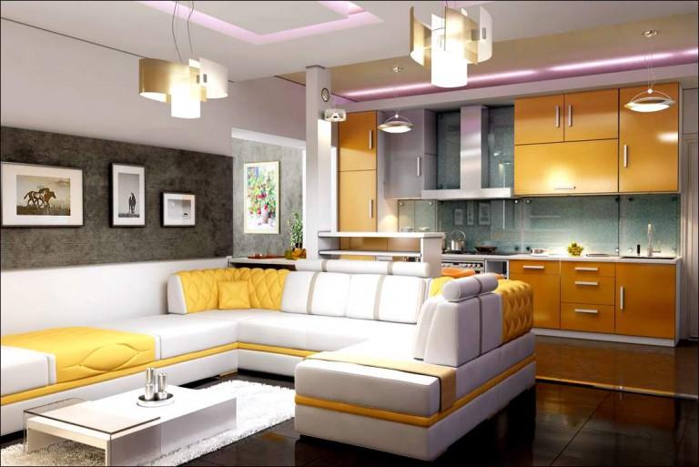 Интерьер кухни совмещенной с гостиной 30 кв.м фото