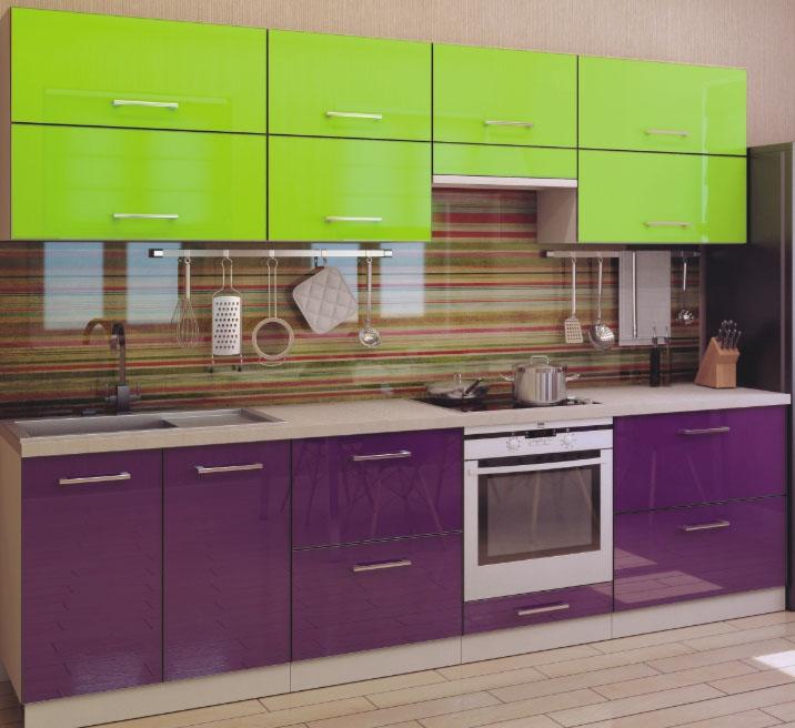 цвет кухни лайм с фиолетовым