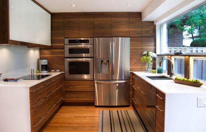 П-образная кухня для больших помещений