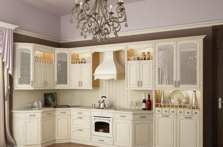 Светлая белая кухня классика